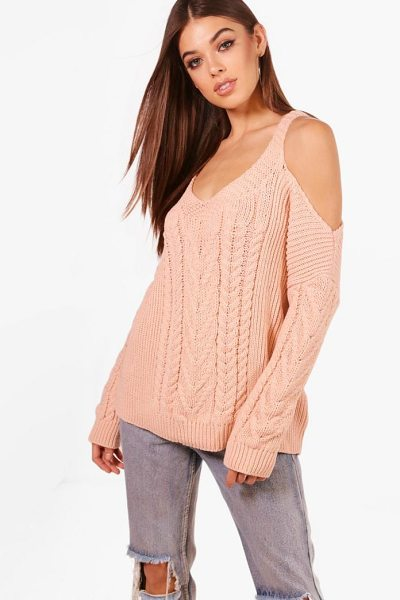 Boohoo Phoebe Cable Knit Cold Shoulder Jumper in blush - Nail new season knitwear in the jumpers and cardigans...