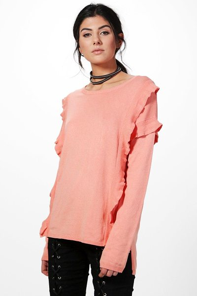 Boohoo Phoebe Double Ruffle Jumper in dusky pink - Nail new season knitwear in the jumpers and cardigans...