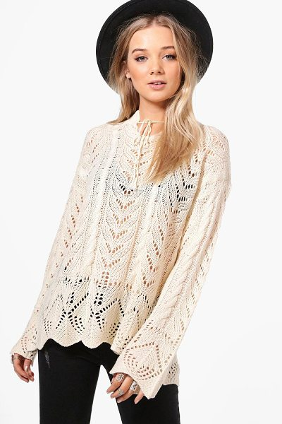 BOOHOO Phoebe Festival Tie Neck Jumper - Nail new season knitwear in the jumpers and cardigans...
