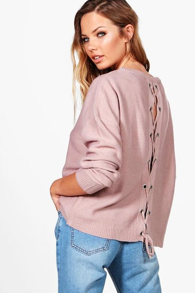 Boohoo Phoebe Lace Up Back Jumper in blush - Nail new season knitwear in the jumpers and cardigans...