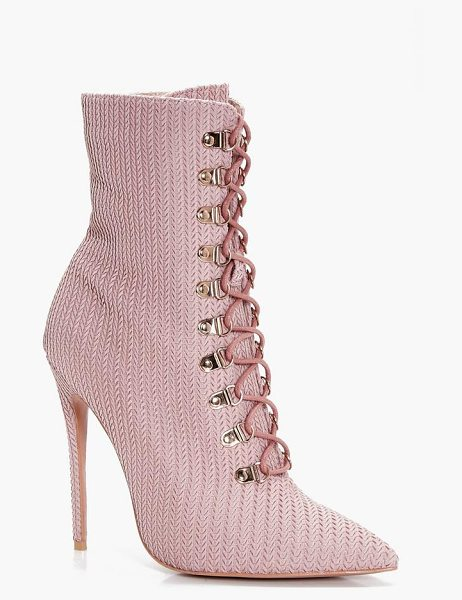 Boohoo Phoebe Lace Up Pointed Toe Sock Boot in dusky pink - We'll make sure your shoes keep you one stylish step...