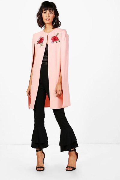 Boohoo Phoebe Longline Embroidered Cape in nude - Wrap up in the latest coats and jackets and get...