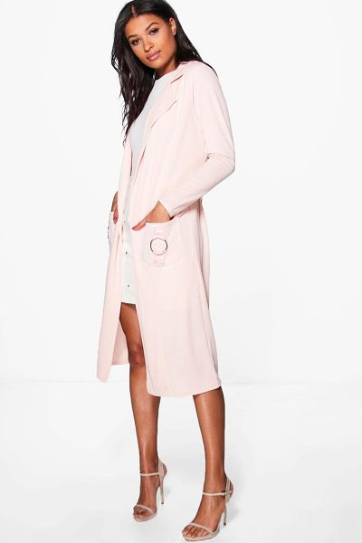 Boohoo Phoebe O-Ring Pocket Duster in nude - Wrap up in the latest coats and jackets and get...