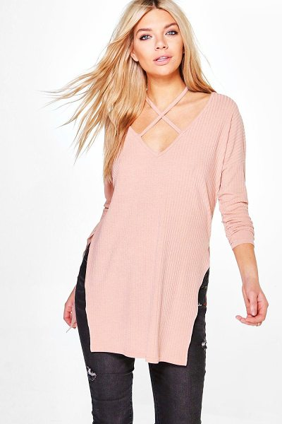 Boohoo Phoebe Strap Neck Detail Rib Knit Jumper in blush - Nail new season knitwear in the jumpers and cardigans...