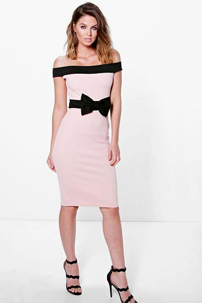 Boohoo Pia Contrast Off The Shoulder Bow Waist Midi Dress in blush - Get dance floor-ready in an entrance-making evening...