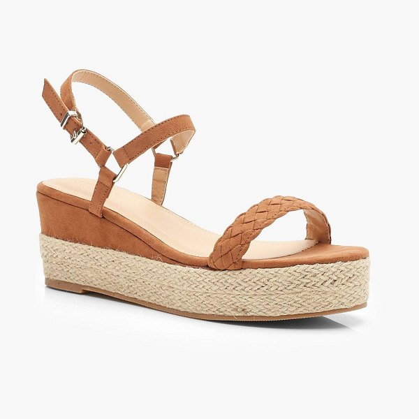 Boohoo Plait Front Espadrille Wedges in tan