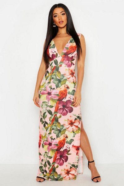 Boohoo Plunge Floral Maxi Dress in pink