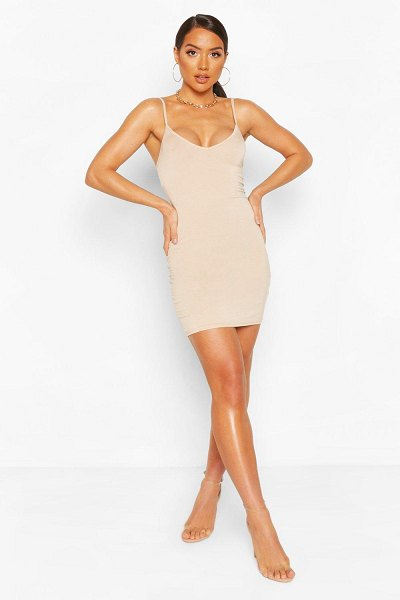Boohoo Plunge Front Jersey Cami Bodycon Dress in stone