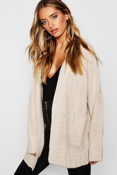 Boohoo Pocket Cardigan in oatmeal - Nail new season knitwear in the jumpers and cardigans...