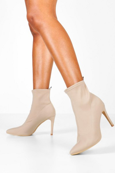 Boohoo Pointed Stiletto Sock Boots in nude