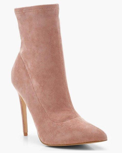 Boohoo Pointed Toe Stiletto Sock Boots in pink