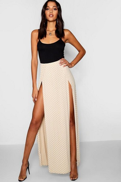 Boohoo Polka Dot Print Thigh Split Maxi Skirt in beige - Skirts are the statement separate in every wardrobe This...
