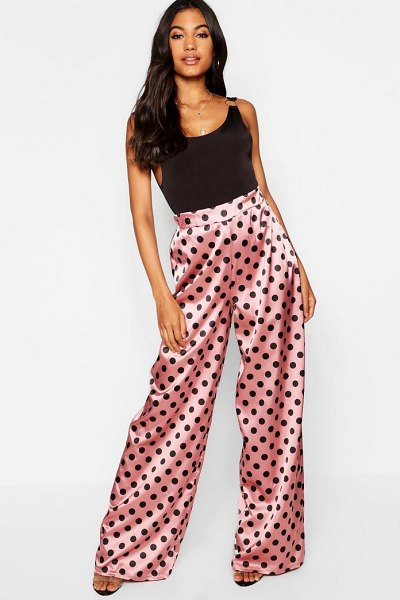 d9829e4898f9f Boohoo Polka Dot Satin Wide Leg Pants in pink - Trousers are a more  sophisticated alternative