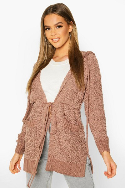 Boohoo Popcorn Knit Hooded Cardigan in taupe