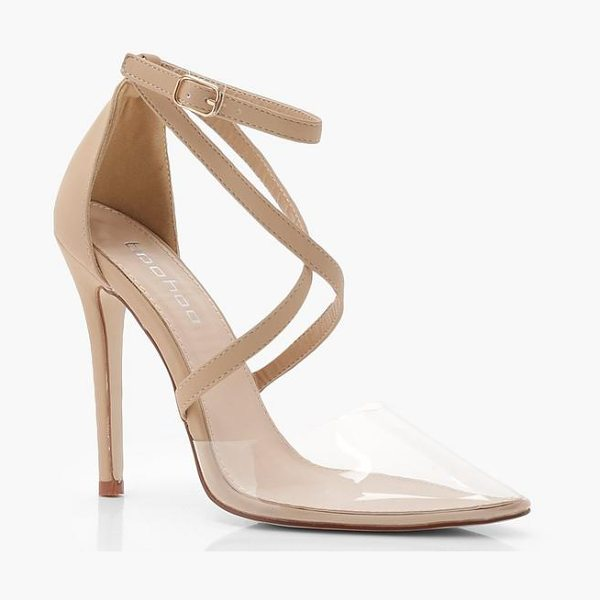 Boohoo Cross Strap Pointed Clear Heels in nude - We'll make sure your shoes keep you one stylish step...