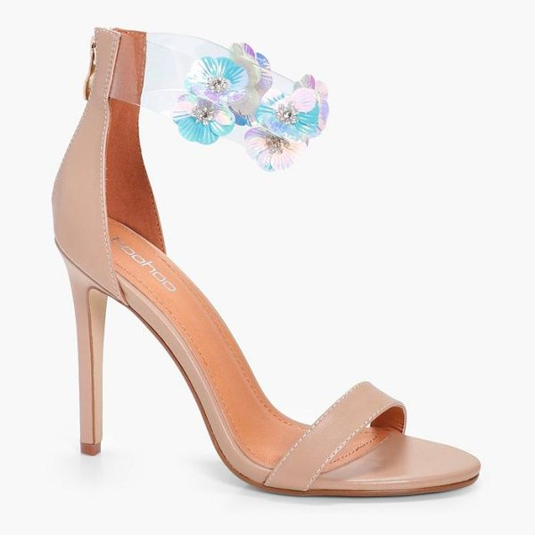 Boohoo Floral Embellished Clear 2 Part Heels in rose gold - We'll make sure your shoes keep you one stylish step...