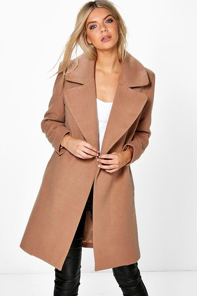 Boohoo Oversized Collar Wool Look Coat in camel - Wrap up in the latest coats and jackets and get...
