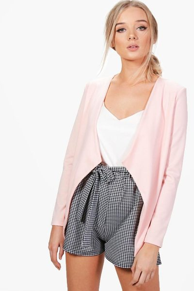 Boohoo Poppy Shawl Collar Ponte Blazer in nude - Wrap up in the latest coats and jackets and get...