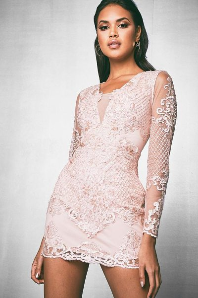 Boohoo Premium Beaded Plunge Neck Bodycon Dress in blush - Dresses are the most-wanted wardrobe item for...