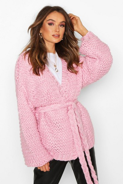 Boohoo Premium Hand Knitted Belted Cardigan in pink