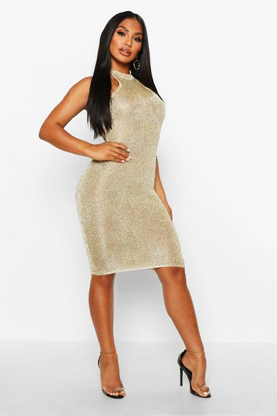 Boohoo Premium Knitted Metallic Bodycon Dress in champagne