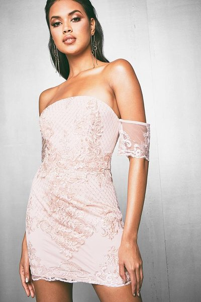 Boohoo Premium Corded Sequin Bandeau Dress in blush - Dresses are the most-wanted wardrobe item for...