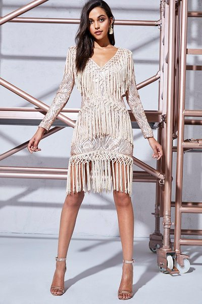 BOOHOO Premium Louise Sequin & Tassel Bodycon Dress in blush - Dresses are the most-wanted wardrobe item for...