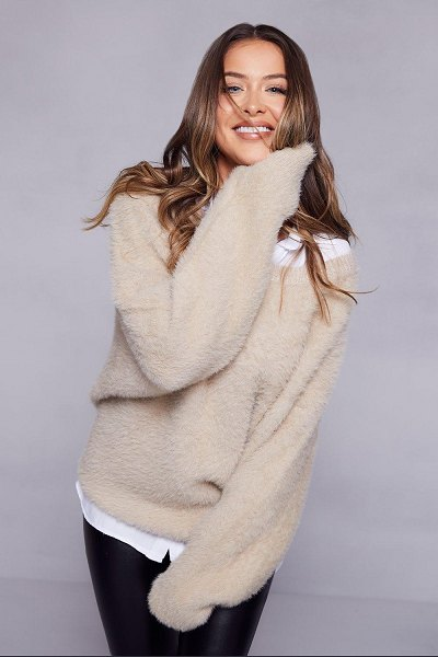 Boohoo Premium Oversized Feather Knit in mink