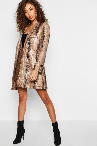Boohoo Premium Snake Pu Trench Coat in stone - Wrap up in the latest coats and jackets and get...