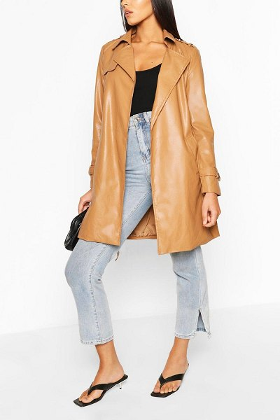 Boohoo Pu Belted Trench Coat in camel