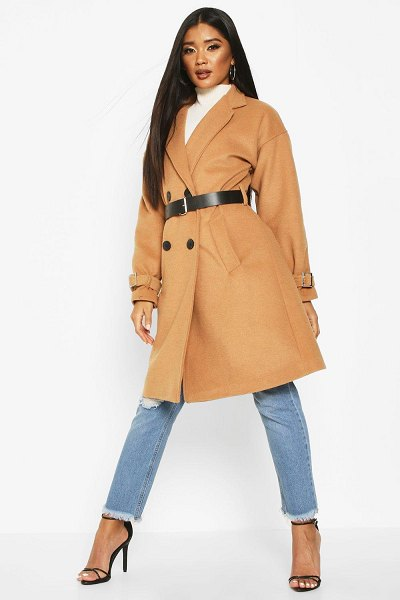 Boohoo Pu Belted Trench Wool Look Coat in camel