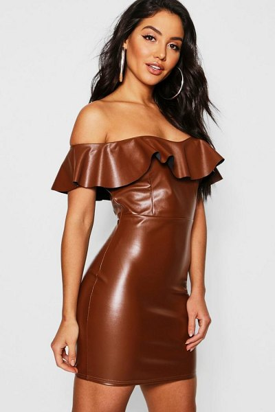 Boohoo PU Off The Shoulder Mini Ruffle Bodycon Dress in tan - Dresses are the most-wanted wardrobe item for...