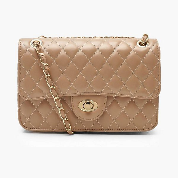 Boohoo PU Quilted Cross Body in ecru - Add attitude with accessories for those fashion-forward...