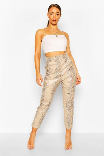 Boohoo Faux Leather Faux Snake Slim Fit Pants in stone