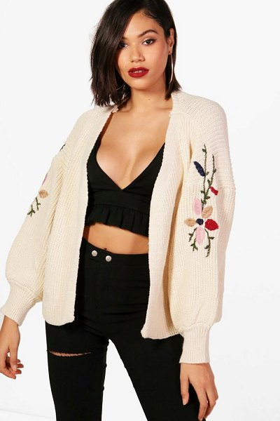 Boohoo Puffed Sleeve Embroidery Cardigan in beige - Nail new season knitwear in the jumpers and cardigans...
