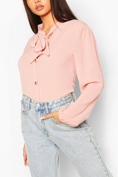 Boohoo Pussybow Button Through Volume Sleeve Blouse in pink