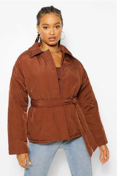 Boohoo Quilted Belted Puffer Jacket in chocolate
