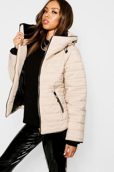 Boohoo Quilted Jacket in stone