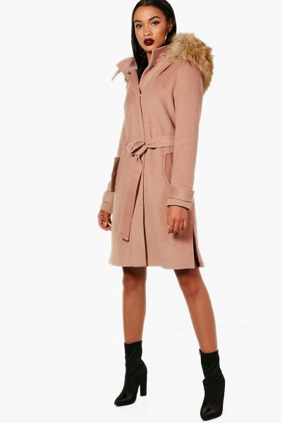 Boohoo Quinn Faux Fur Trim Hood Belted Coat in camel - Wrap up in the latest coats and jackets and get...