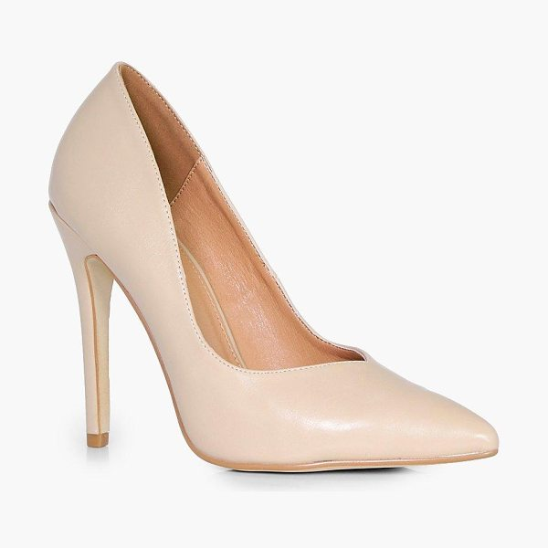 Boohoo Rachel V Cut Toe Court Heels in nude - We'll make sure your shoes keep you one stylish step...