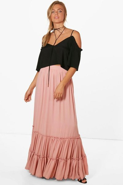 Boohoo Ruffle Hem Chiffon Maxi Skirt in rose - Skirts are the statement separate in every wardrobe This...