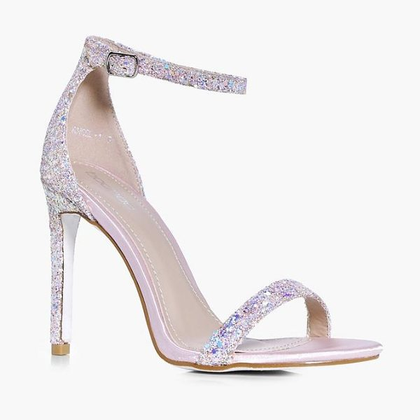 Boohoo Rebecca Bridal Glitter Two Part Sandal in pink - We'll make sure your shoes keep you one stylish step...