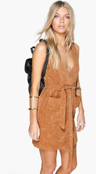 Boohoo Rebecca Button Front Cord Dress in tan - Update your casual wardrobe with a pinafore dress. From...