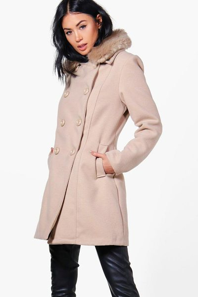 Boohoo Rebecca Faux Fur Collar Double Breasted Coat in stone - Wrap up in the latest coats and jackets and get...