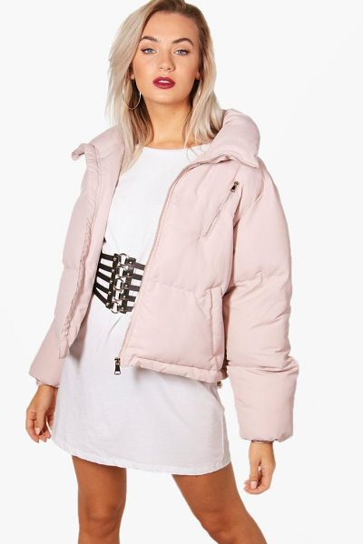 Boohoo Funnel Neck Padded Jacket in pink - Wrap up in the latest coats and jackets and get...