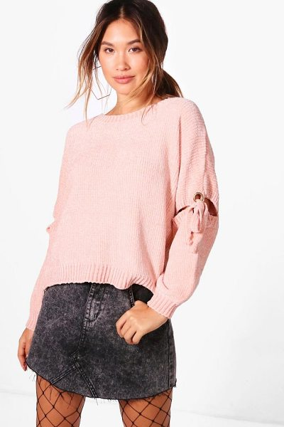 Boohoo Rebecca Lace Up Detail Chenille Jumper in blush - Nail new season knitwear in the jumpers and cardigans...