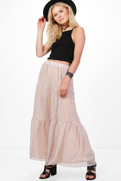 Boohoo Rebecca Layered Maxi Skirt in pink - Skirts are the statement separate in every wardrobe This...
