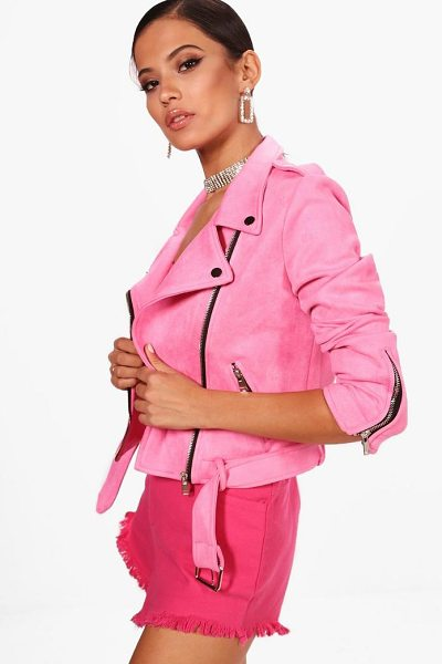 Boohoo Premium Faux Suede Biker Jacket in pink - Wrap up in the latest coats and jackets and get...
