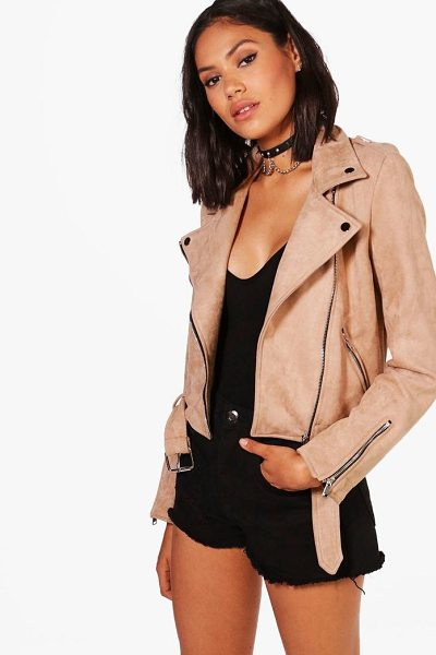 BOOHOO Premium Vegan Suede Biker Jacket - Wrap up in the latest coats and jackets and get...