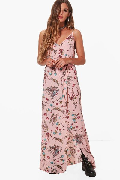 Boohoo Rebecca Strappy Tie Waist Printed Woven Maxi Dress in pink - Dresses are the most-wanted wardrobe item for...